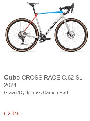 Cube CROSS RACE C:62 SL 2021